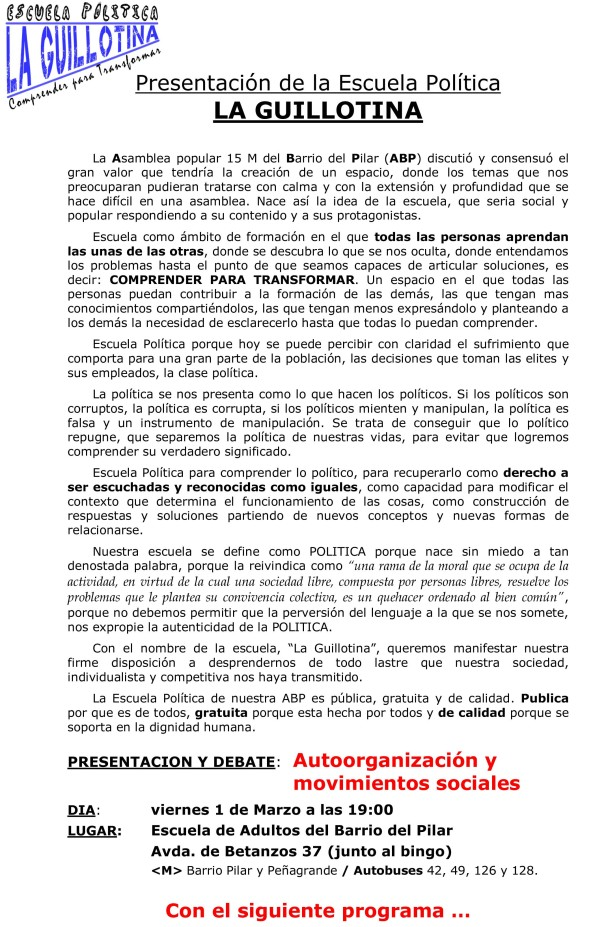 ESCUELA  POLITICA DEL 15 M DEL BARRIO DEL PILAR