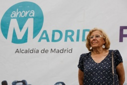 MADRID, SPAIN - MAY 13: 'Ahora Madrid' party leader, Manuela Carmena stand on stage during an election campaign rally at the Cornisa Park on May 13, 2015 in Madrid, Spain. The rally was organized by 'Podemos' (We can) and 'Ahora Madrid' (Now Madrid) political parties. Municipal and regional elections will take place next May 24 across most of Spain. (Photo by Pablo Blazquez Dominguez/Getty Images)